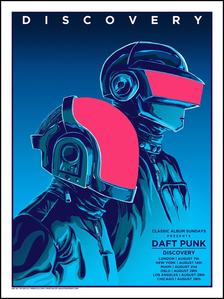 """Daft Punk"" by Tim Doyle.  18"" x 24"" 5-color Screenprint.  Ed of 100.  £30 ($40)"