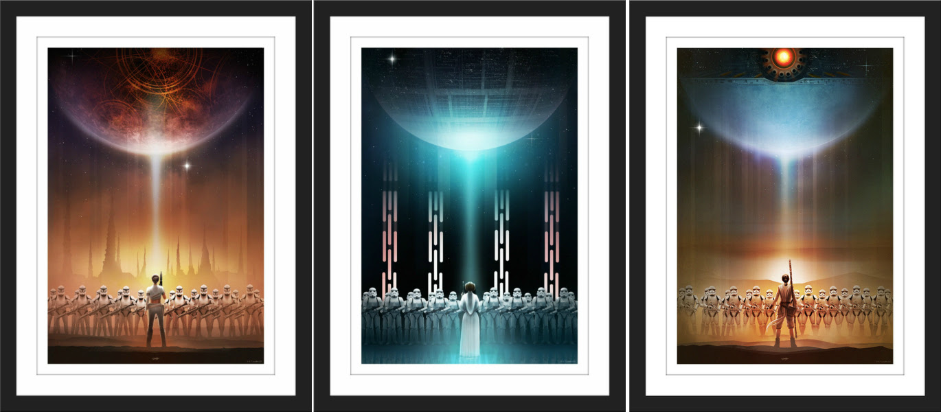 """Star Wars Perspective #3"" by Andy Fairhurst.  (3) 13"" x 19"" Giclees.  Ed of 325 N.  $100 set"
