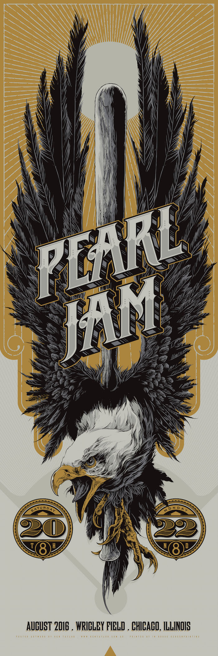"""Pearl Jam - Chicago, IL 2016"" by Ken Taylor.  12"" x 36"" Screenprint.  AP edition of 300.  $50"