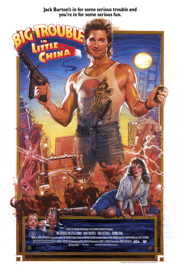 """Big Trouble In Little China"" by Drew Struzan.  24"" x 36"" 17-color Screenprint.  Regular (Ed of 400 S/N, $200) : GID (Ed of 150 S/N, $250)"
