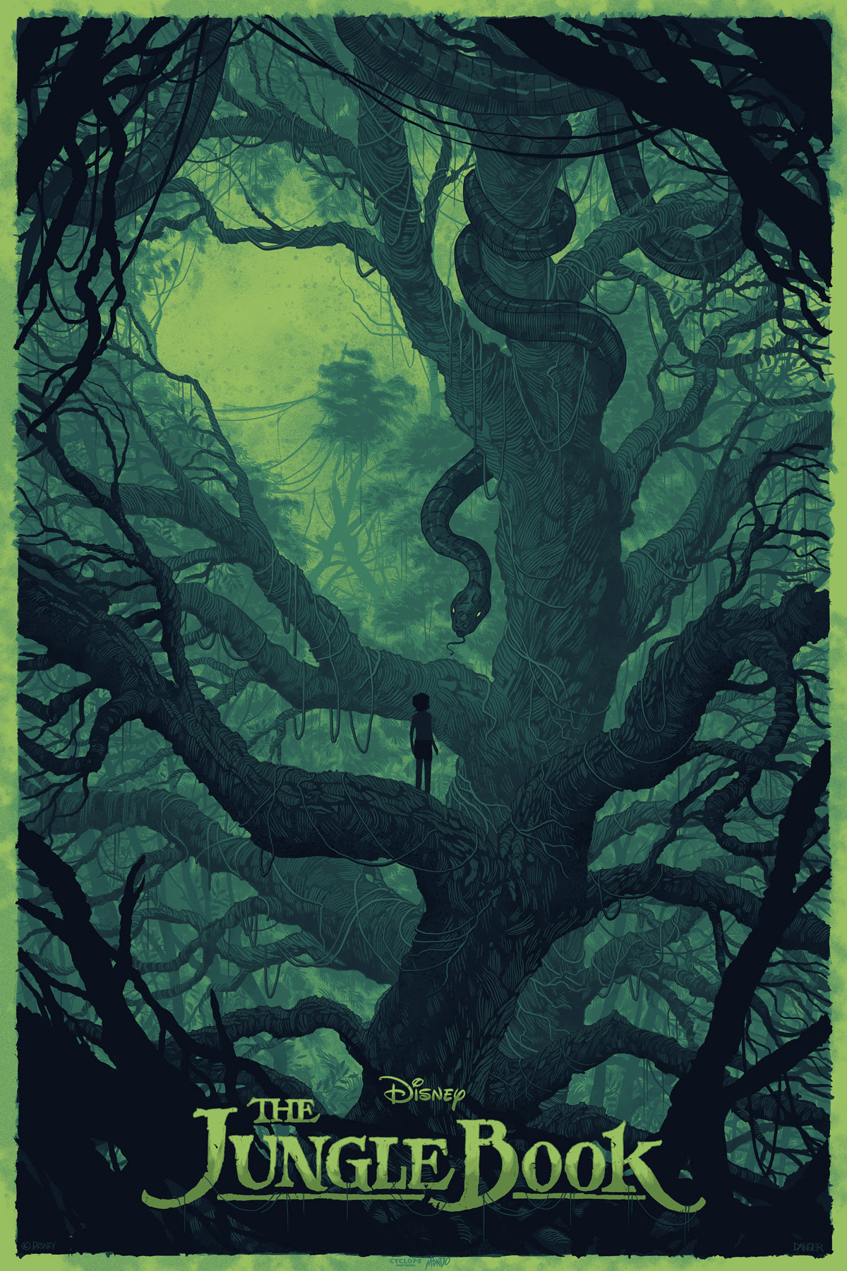 "The Jungle Book by Daniel Danger. Mondo x Cyclops Print Works Collaboration Print #01. 24""x36"" Screen Print. Hand numbered. Available Tuesday (8/30) at 9AM CST through Friday (9/2) at 12PM CST at mondotees.com. Printed by D&L Screenprinting. Expected to ship in 8-12 weeks. $60"