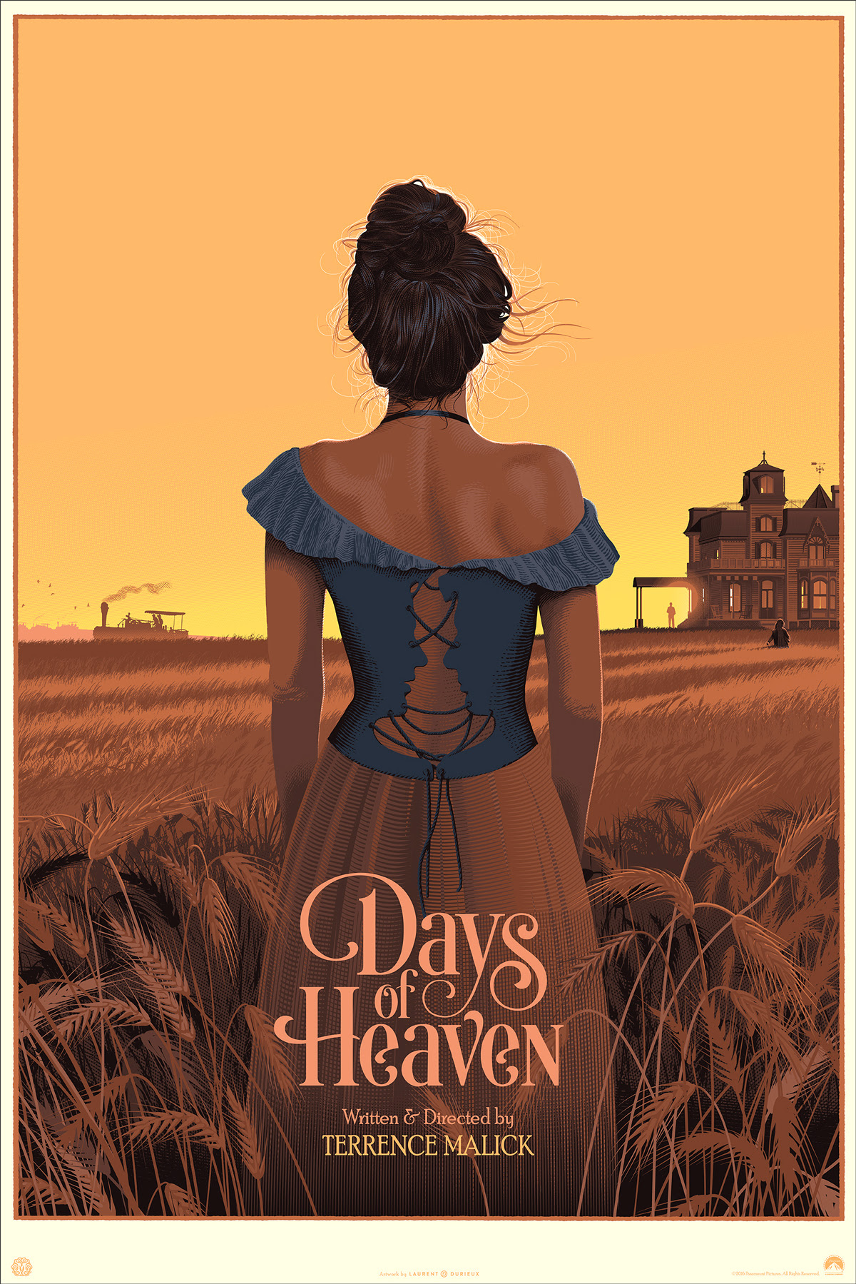 "Days of Heaven by Laurent Durieux. 24""x36"" screen print. Hand numbered. Edition of 325. Printed by D&L Screenprinting. $60"