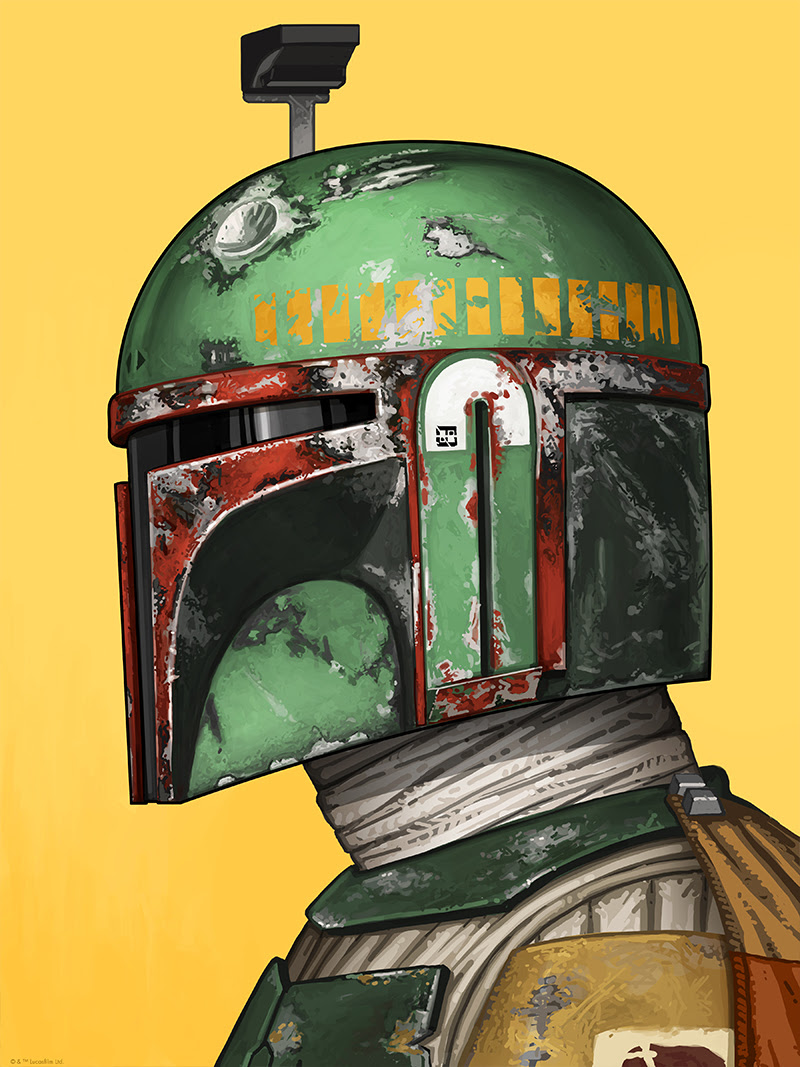 "Boba Fett by Mike Mitchell. 12""x16"" giclee. Signed & Hand numbered. Timed-Edition.  $55"