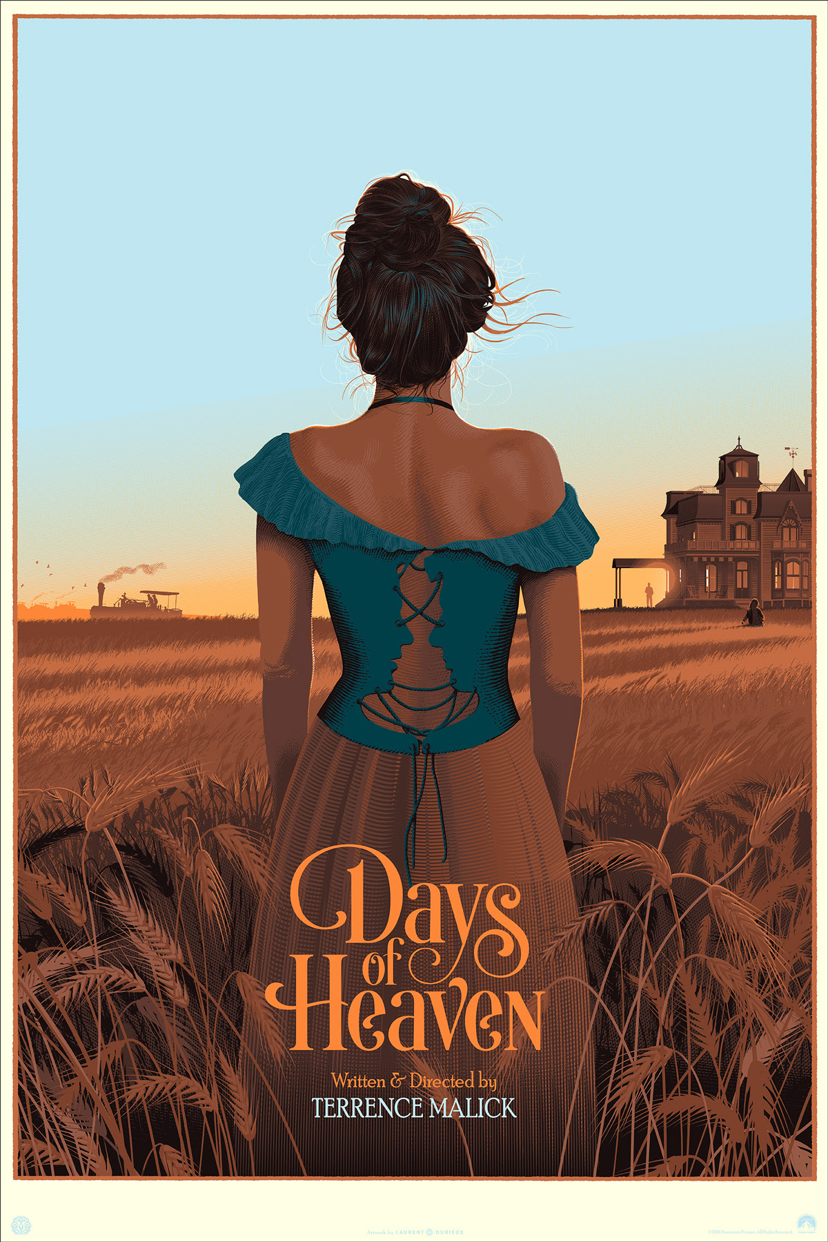 "Days of Heaven (Variant) by Laurent Durieux. 24""x36"" screen print. Hand numbered. Edition of 175. Printed by D&L Screenprinting. $85"
