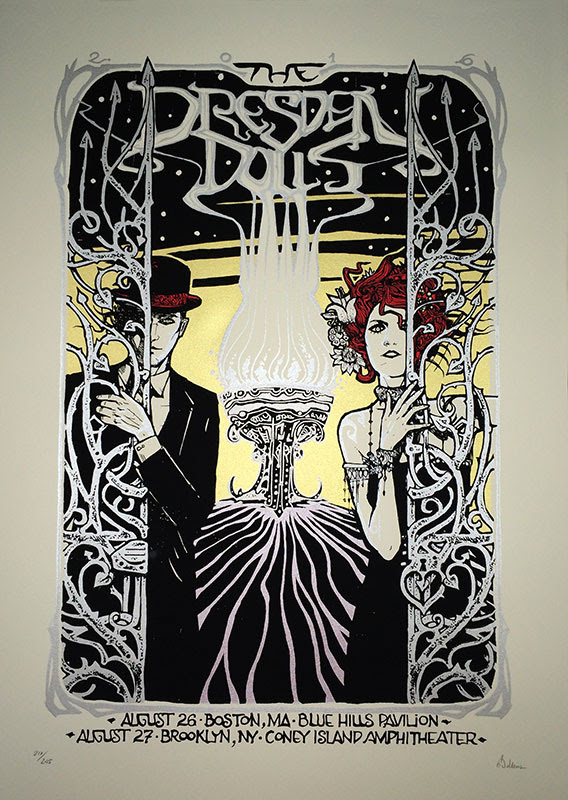 """The Dresden Dolls - Boston, MA + Brooklyn, NY 2016"" by Malleus.  50 x 70cm 4-color Screenprint.  Ed of 245 S/N."