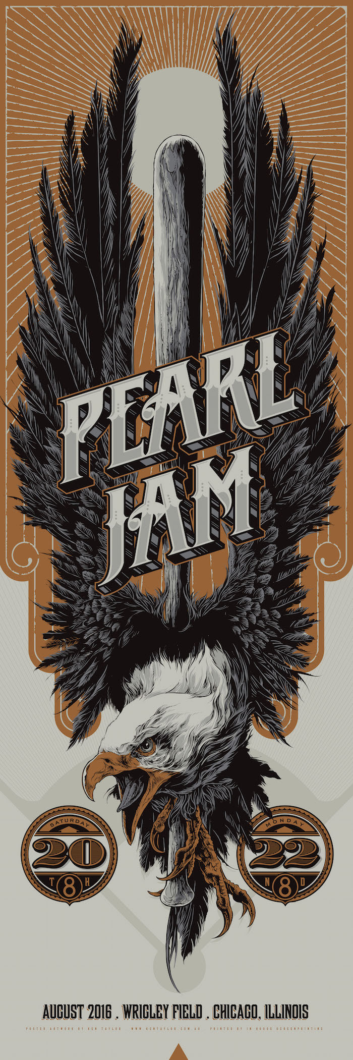 """Pearl Jam - Chicago, IL 2016"" by Ken Taylor.  12"" x 36"" Screenprint.  AP edition of 300.  $50 (variant)"