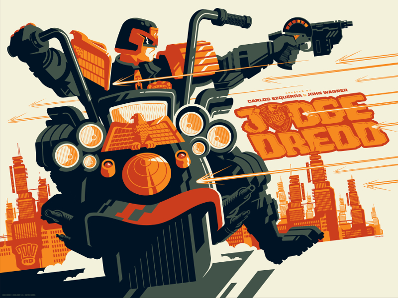 """Judge Dredd"" by Tom Whalen.  18"" x 24"" 4-color Screenprint.  Ed of 110.  £30 ($39)"
