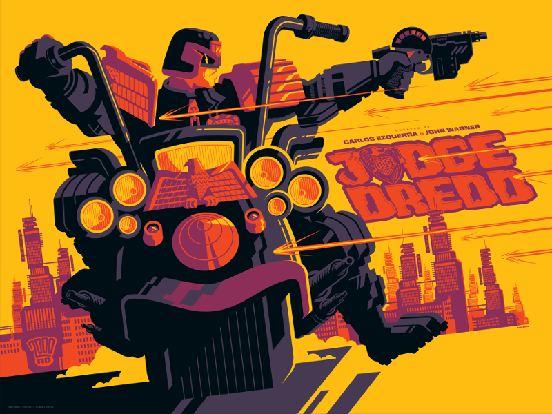 """Judge Dredd"" by Tom Whalen.  18"" x 24"" 4-color Screenprint.  Ed of 40.  £40 ($52) (variant)"