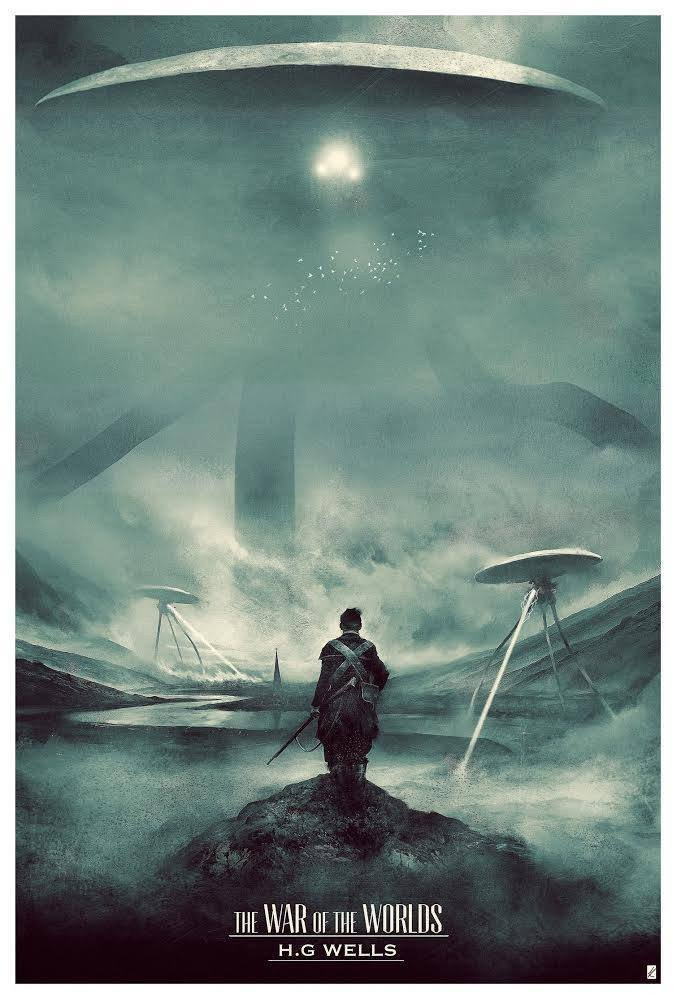 """H.G. Wells: The War of the Worlds"" by Karl Fitzgerald.  24"" x 36"" Screenprint.  Ed of 105 N.  $45"
