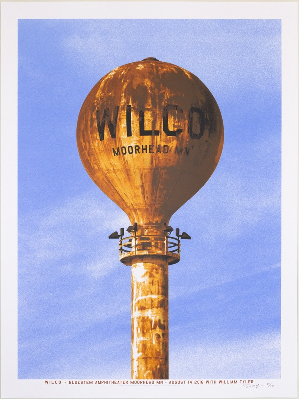"""Wilco - Moorhead MN 2016"" by Crosshair.  18"" x 24"" 6-color Screenprint.  Ed of 130 S/N.  $30"