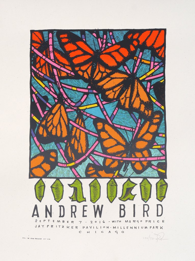 """Andrew Bird - Chicago, IL 2016"" by Jay Ryan.  18"" x 24"" 5-color Screenprint.  Ed of 350 S/N.  $25"