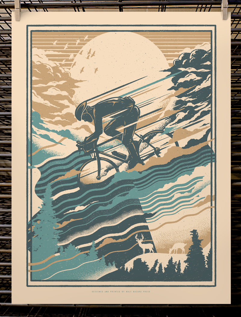 """Down Hill Sprint"" by Joel Hunter.  18"" x 24"" 3-color Screenprint.  Edition of 30 S/N.  $30 (1st edition)"