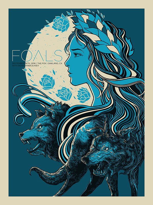 """Foals - Oakland, CA 2016"" by John Vogl.  18"" x 24"" 3-color Screenprint.  AP edition of 50 S/N.  $25"