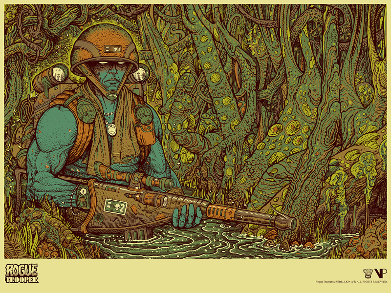 """Rogue Trooper"" by Florian Bertmer.  18"" x 24"" 7-color Screenprint.  Ed of 100 N.  £30 ($39)"