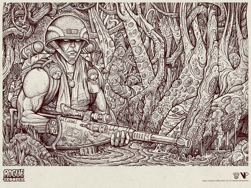 """Rogue Trooper"" by Florian Bertmer.  18"" x 24"" 1-color Screenprint.  Ed of 40 N.  £40 ($52) (variant)"