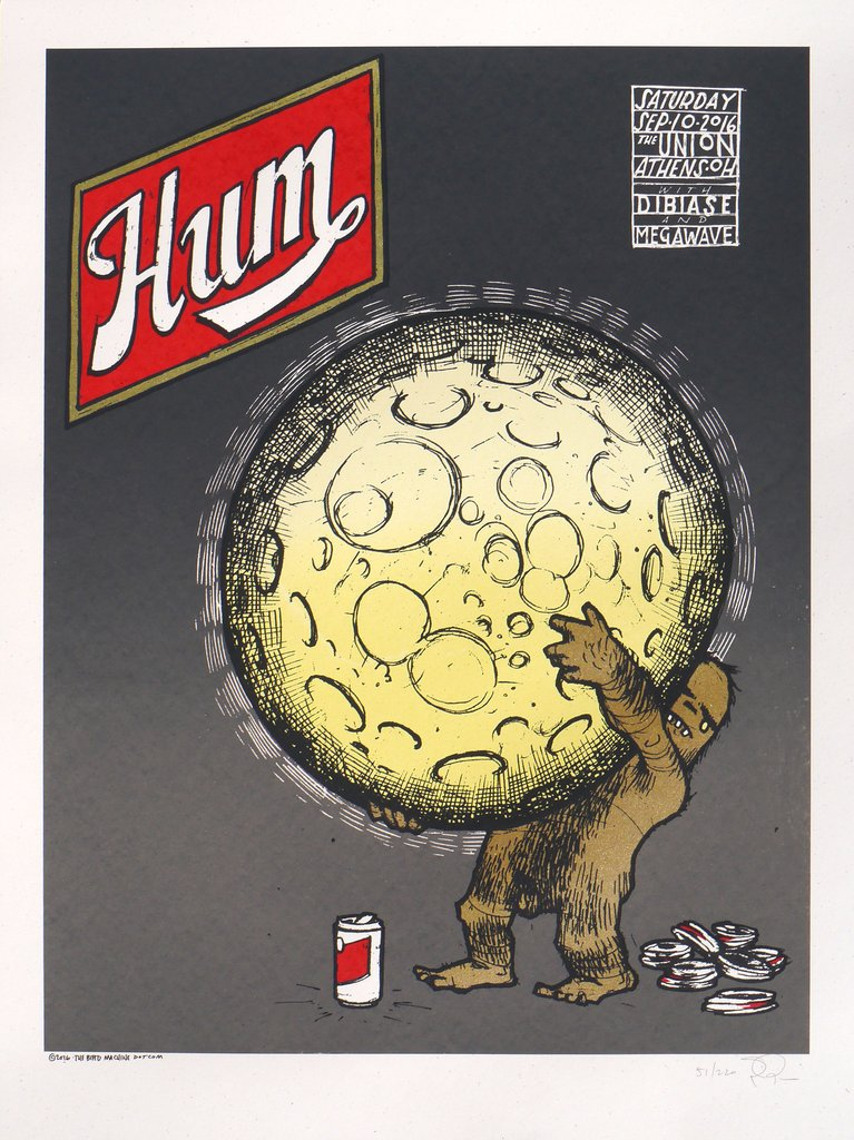 """Hum - Athens OH 2016"" by Jay Ryan.  18"" x 24"" 5-color Screenprint w/ GID.  Ed of 220 S/N.  $25"