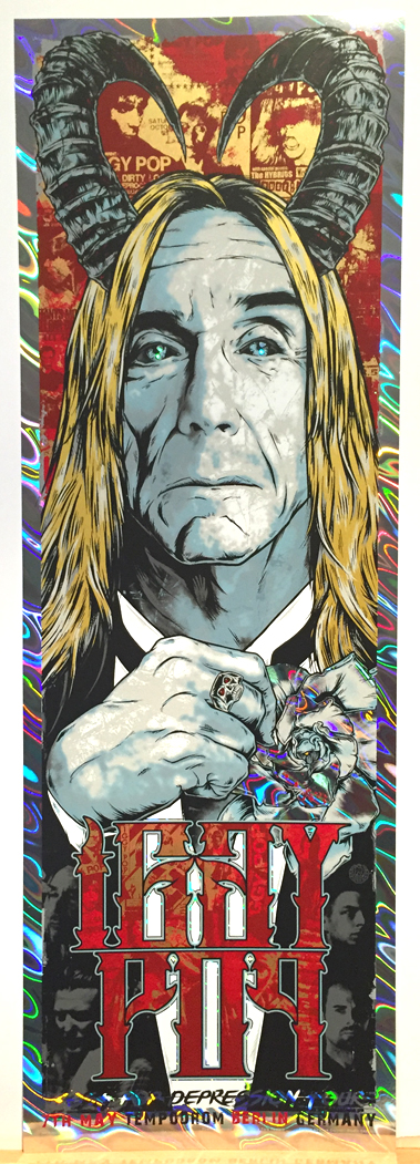 """Iggy Pop - Berlin 2016"" by Rhys Cooper.  12"" x 36"" Screenprint.  Ed of 65 S/N.  (Holographic foil)"