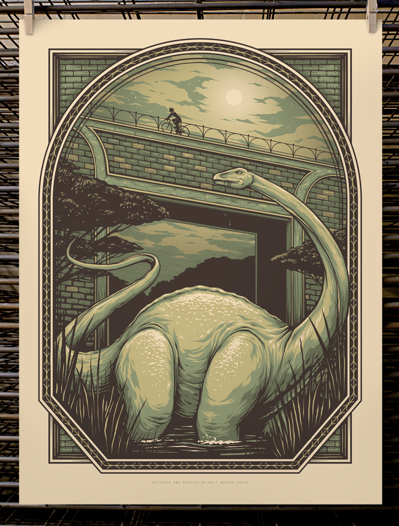 """Lost In Transit"" by Joel Hunter.  18"" x 24"" 4-color Screenprint.  Edition of 30 S/N.  $30 (1st edition)"