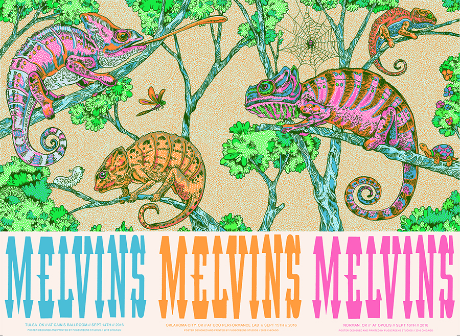 """Melvins - Oklahoma 2016"" by Fugscreens Studios.  24"" x 36"" 7-color Screenprint.  Ed of 25 S/N.  $100"