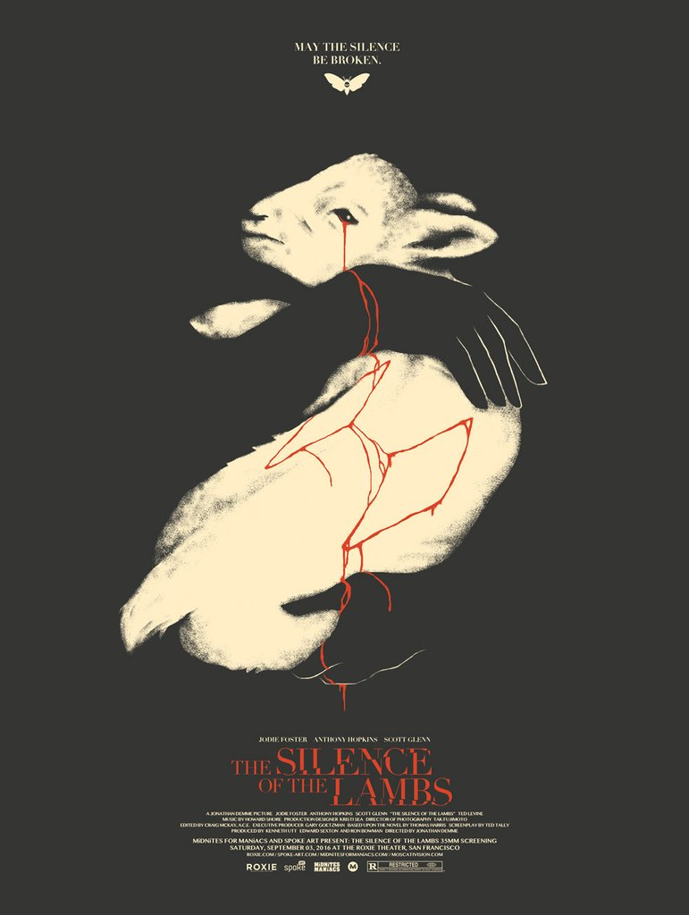 """The Silence of the Lambs"" by David Moscati.  18"" x 24"" Screenprint.  Ed of 100 S/N.  $35"