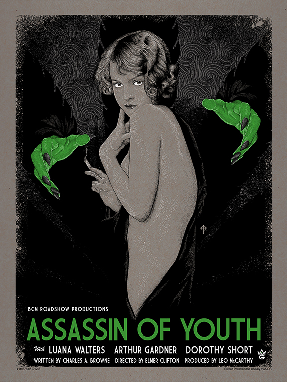 """Assassin of Youth"" by Timothy Pittides.  18"" x 24"" 4 Color Screenprint 1 Metallics Edition of 45 $45.00 (Gallery variant)"