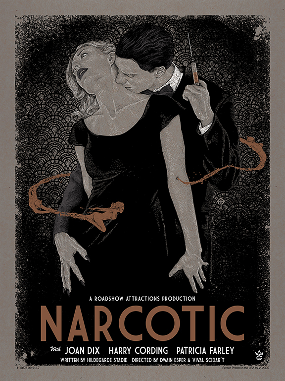 """Narcotic"" by Timothy Pittides.  18"" x 24"" 4 Color Screenprint 2 Metallics Edition of 45 $45.00 (Gallery variant)"