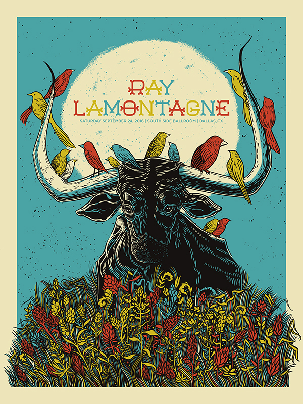 """Ray LaMontagne - Dallas, TX 2016"" by John Vogl.  18"" x 24"" 4-color Screenprint.  Ed of 200 S/N.  $25"