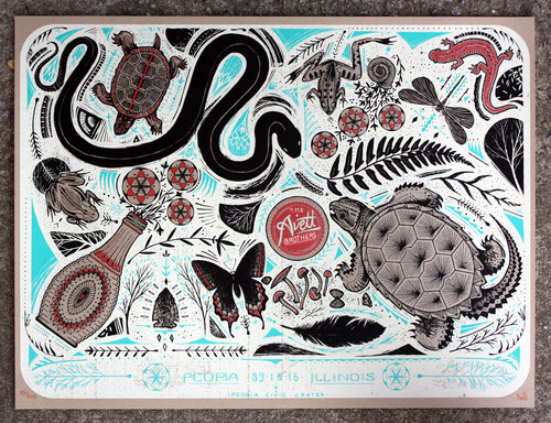 """The Avett Brothers - Peoria - IL 2016"" by David Hale.  24"" x 18"" 4-color Screenprint.  Ed of 200 S/N.  $30"