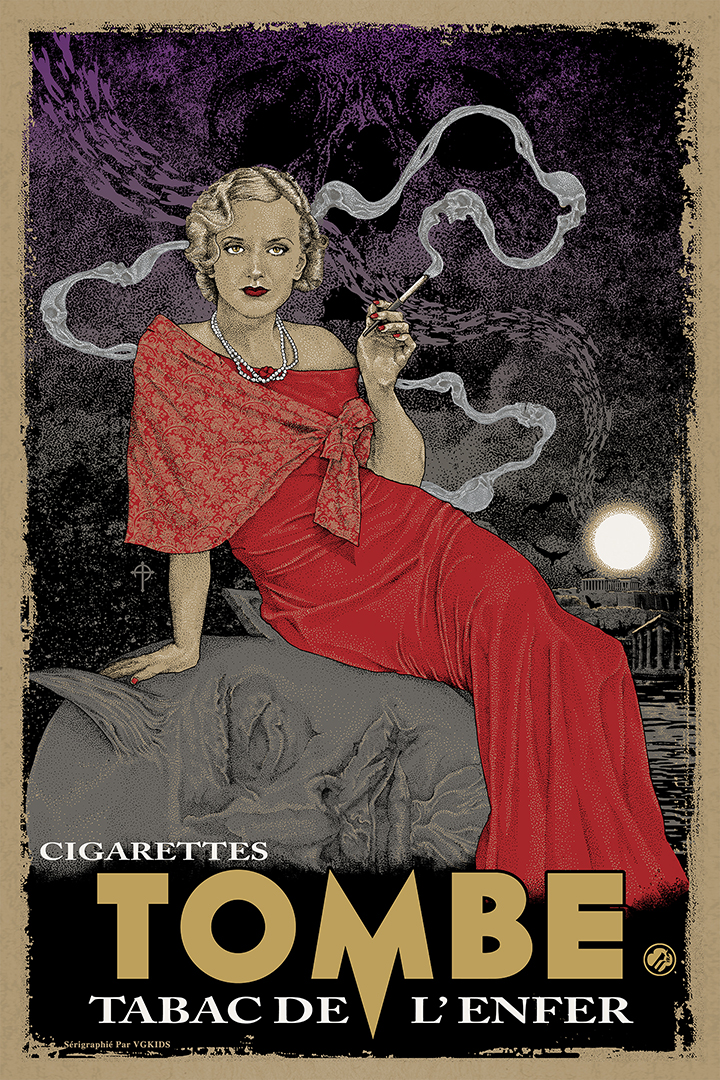 """Cigarettes"" by Timothy Pittides.  20"" X 30"" 9 color Screen Print.  3 Metallics, 1 Split Fountain.  Edition of 90  $60.00"