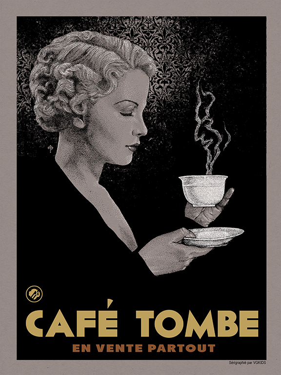 """Coffee"" by Timothy Pittides.  18"" x 24"" 4 Color Screenprint 2 Metallics Edition of 125 $40.00"