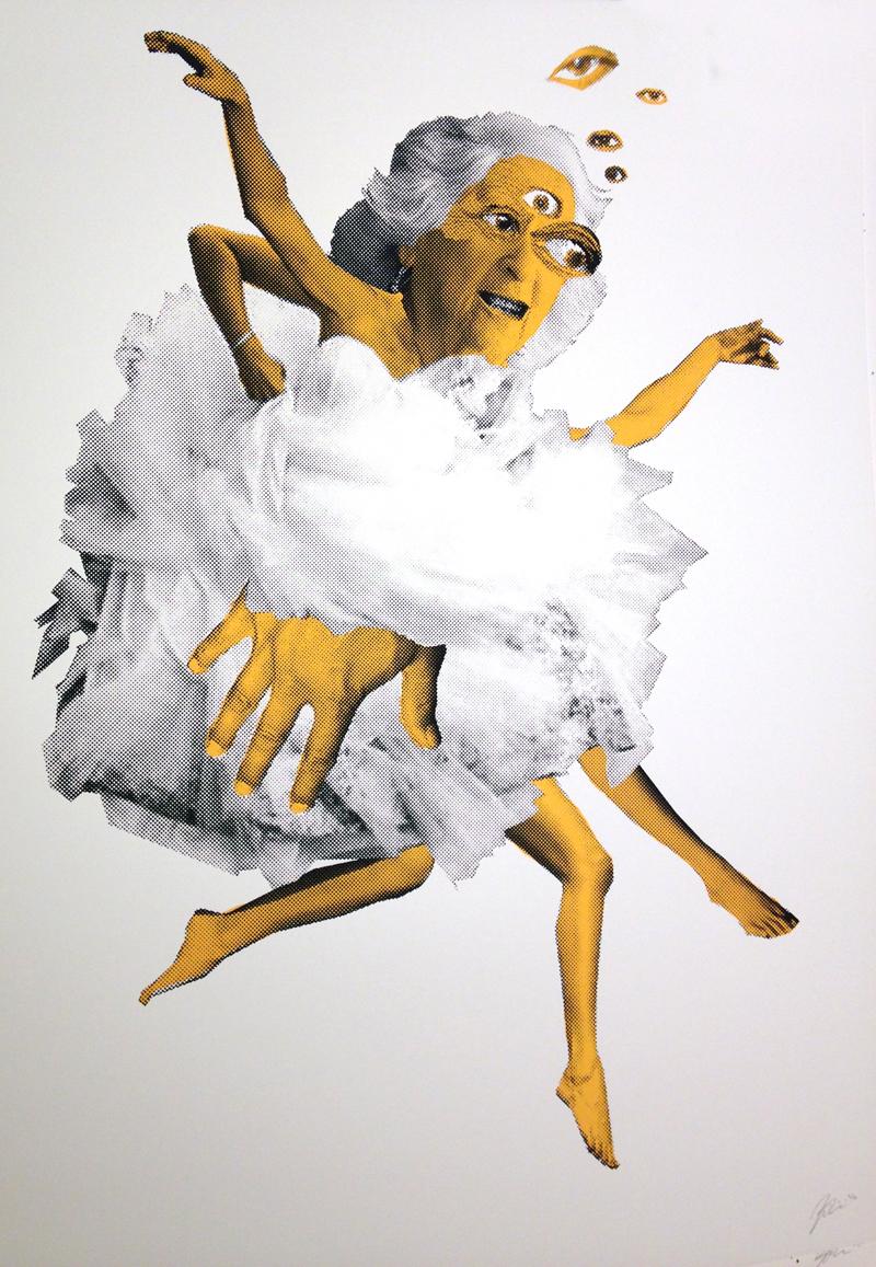 """Dance"" by  Joe Triscari.  18"" x 24"" 2-color Screenprint.  Ed of 50.  $35 (Hers)"