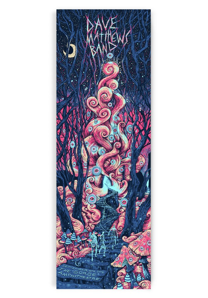 """Dave Matthews Band - The Gorge 2016"" by James R Eads.  12"" x 36"" 4-color Screenprint.  AP edition of 120 S/N.  $88"