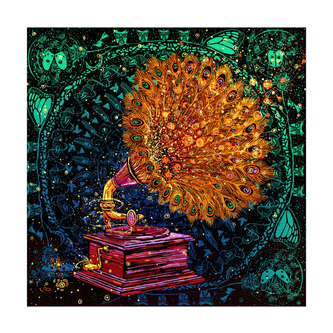 """The Goldfeather Player"" by James R Eads.  18"" x 18"" Giclee.  Ed of 250 S/N.  $50"