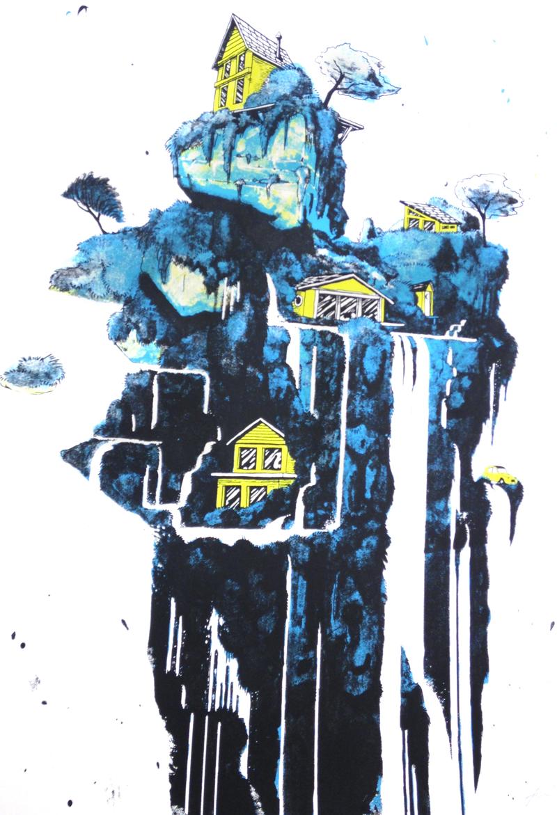 """""""Island in the Sun"""" by Joe Triscari.  3-color Screenprint.  Ed of 25.  $45 (Yellow)"""