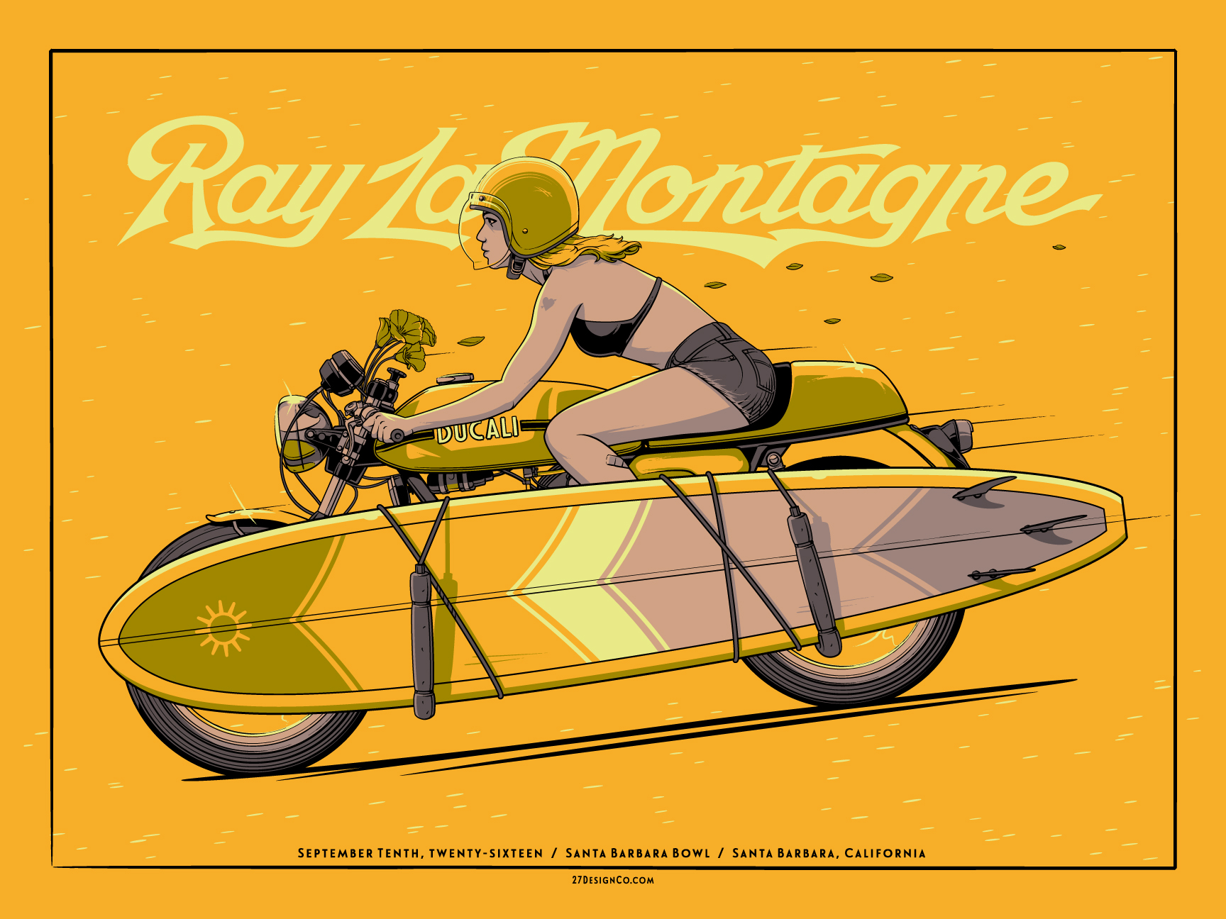 """Ray LaMontagne - Santa Barbara, CA 2016"" by Charles Crisler.  24"" x 18"" 4-color Screenprint.  Ed of 140 S/N.  $30"
