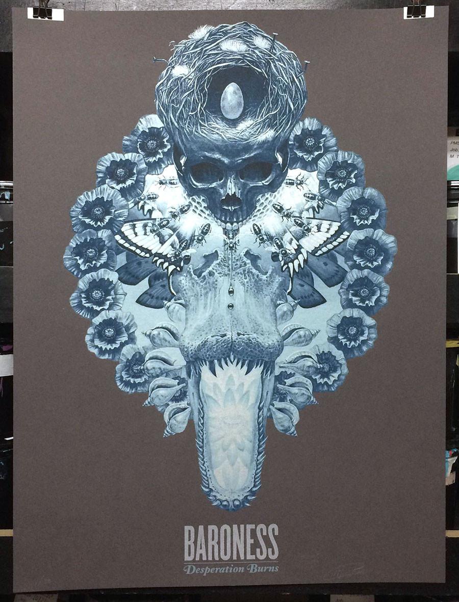 """Desperation Burns"" by Marald Van Haasteren.  5-color Screenprint.  Ed of 50 S/N.  $30"
