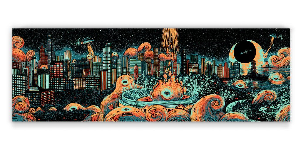 """Deep Dish Delivery"" by James R Eads.  12"" x 36"" 4-color Screenprint.  Ed of 50 S/N.  $45"