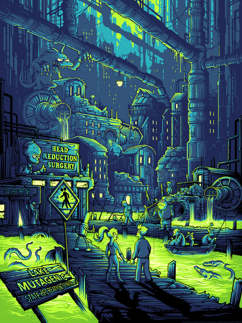"""You Guys Realize You Live in a Sewer, Right?"" by Dan Mumford.  18"" x 24"" Screenprint.  Ed of 250.  $50"