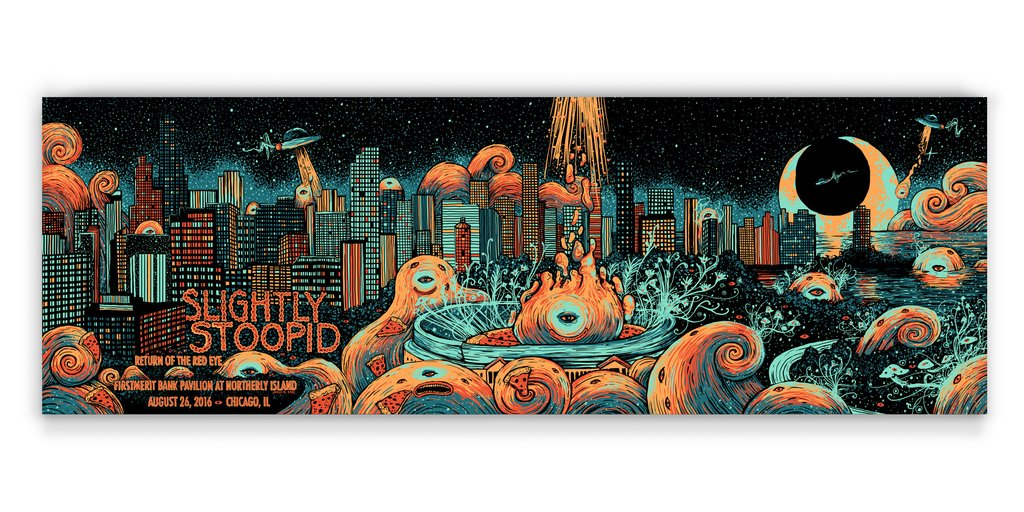 """Slightly Stoopid - Chicago, IL 2016"" by James R Eads.  12"" x 36"" 4-color Screenprint.  AP edition of 50 S/N.  $45"