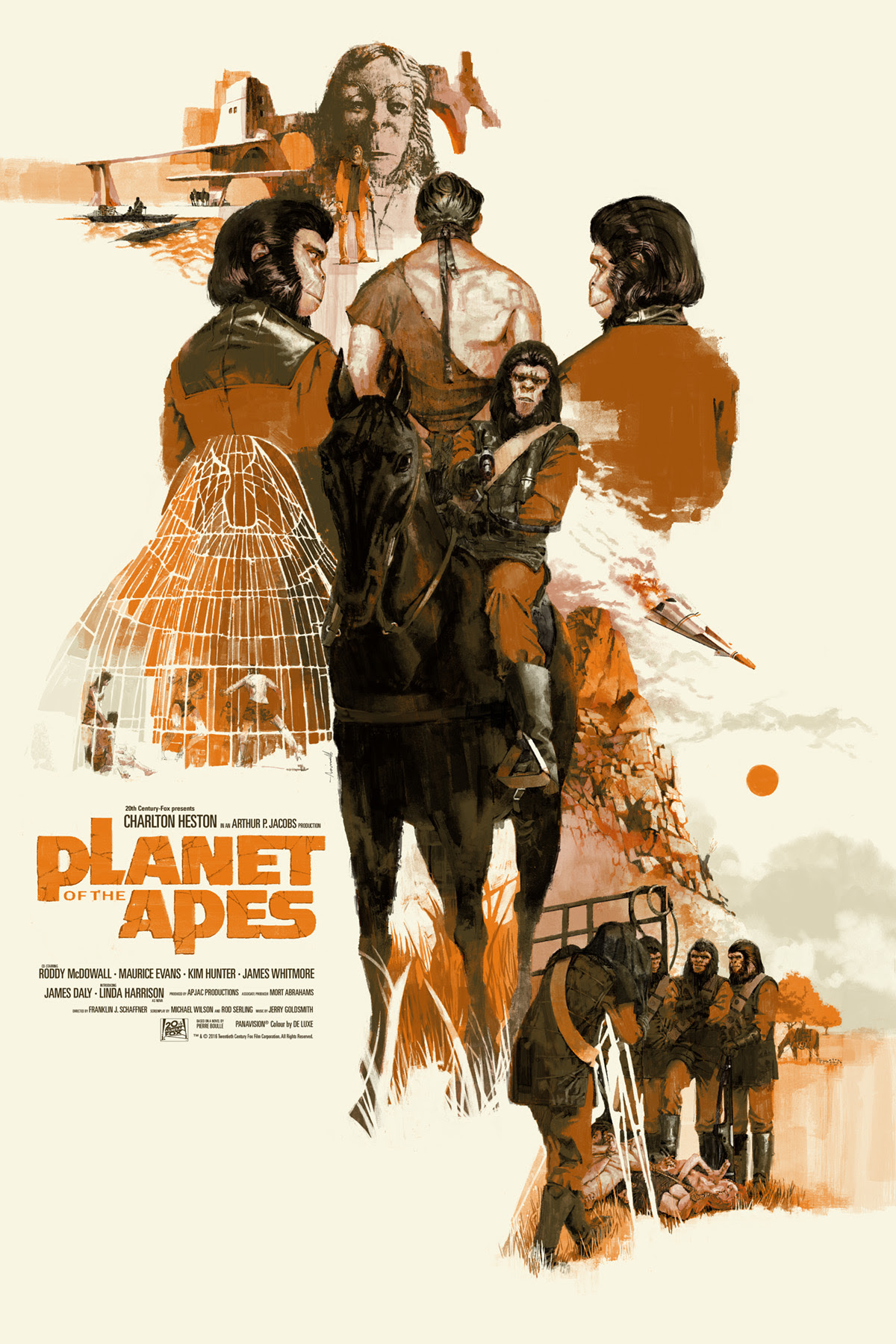 "Planet of the Apes by Marc Aspinall. 24""x36"" screen print. Hand numbered. Edition of 325. Printed by D&L Screenprinting. $45"