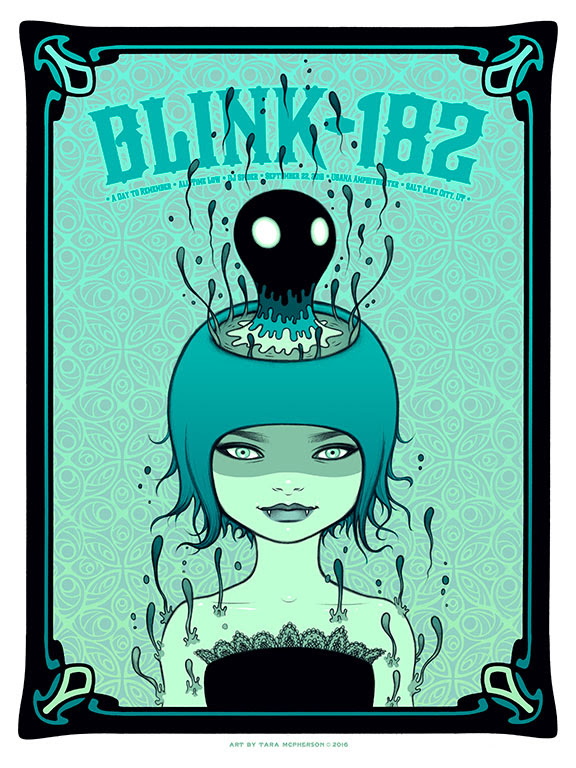 """Blink 182 - Salt Lake City, UT 2016"" by Tara McPherson.  18"" x 24"" 7-color Screenprint.  Artist edition of 100 S/N.  $60"
