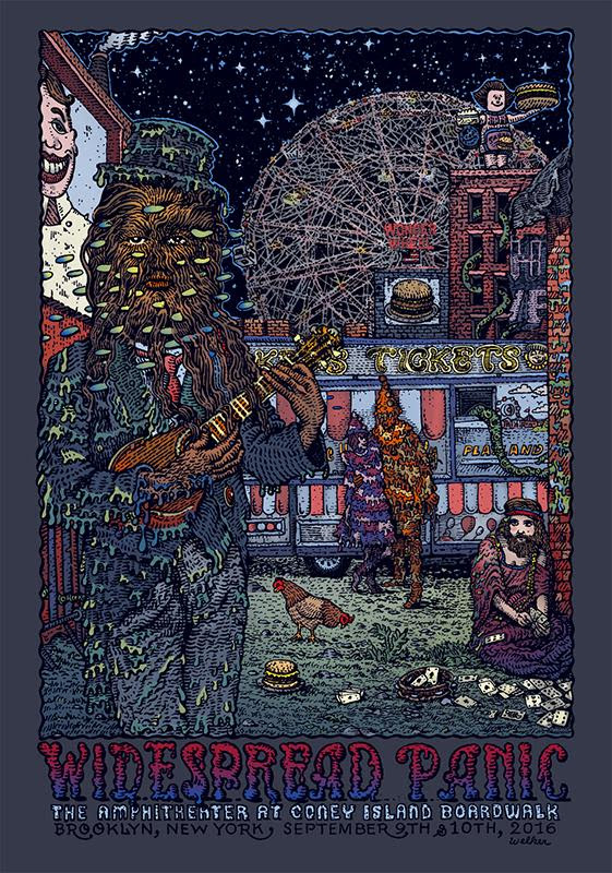 """Widespread Panic - Brooklyn, NY 2016"" by David Welker.  16"" x 24"" 5-color Screenprint.  AP edition of 100 S/N.  $50"