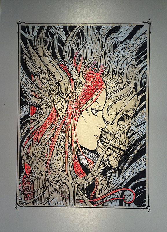 """Asymmetry"" by Malleus.  50 x 70cm 4-color Screenprint.  Ed of 40 S/N."