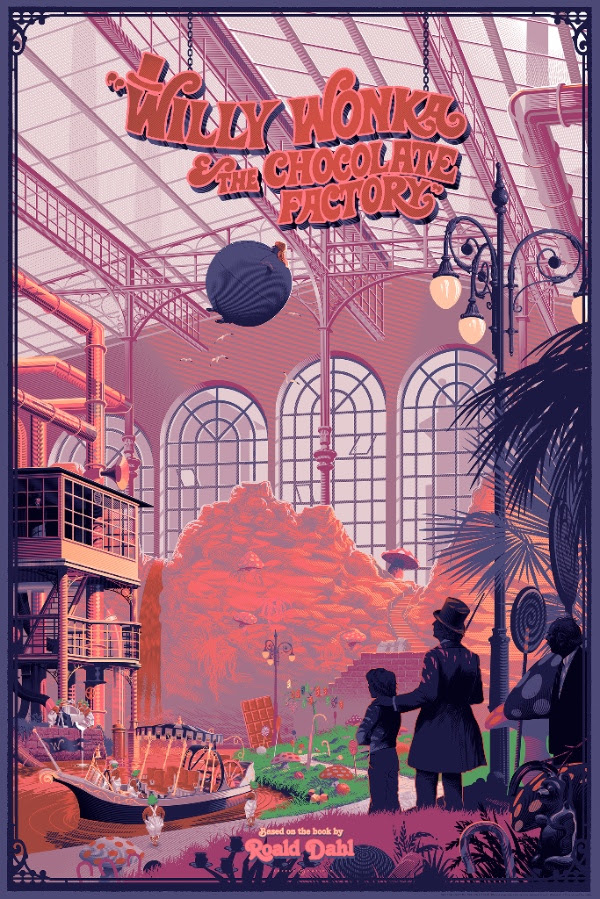 """Willy Wonka & The Chocolate Factory"" by Laurent Durieux.  24"" x 36"" 14-color Screenprint.  Standard (Ed of 345, $70) : Foil (Ed of 25, $150) : Canvas giclee (Ed of 15, $250)"