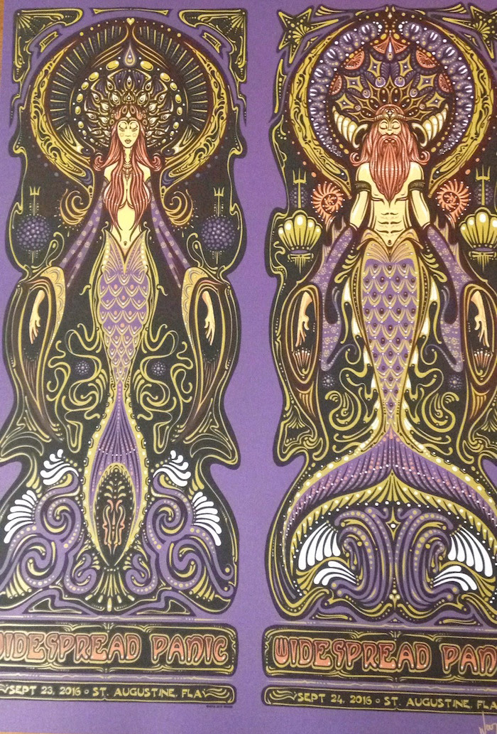 """Widespread Panic - St. Augustine, FL 2016"" by Jeff Wood.  Purple Metallic Sparkle Paper - SN AE/40 $110"