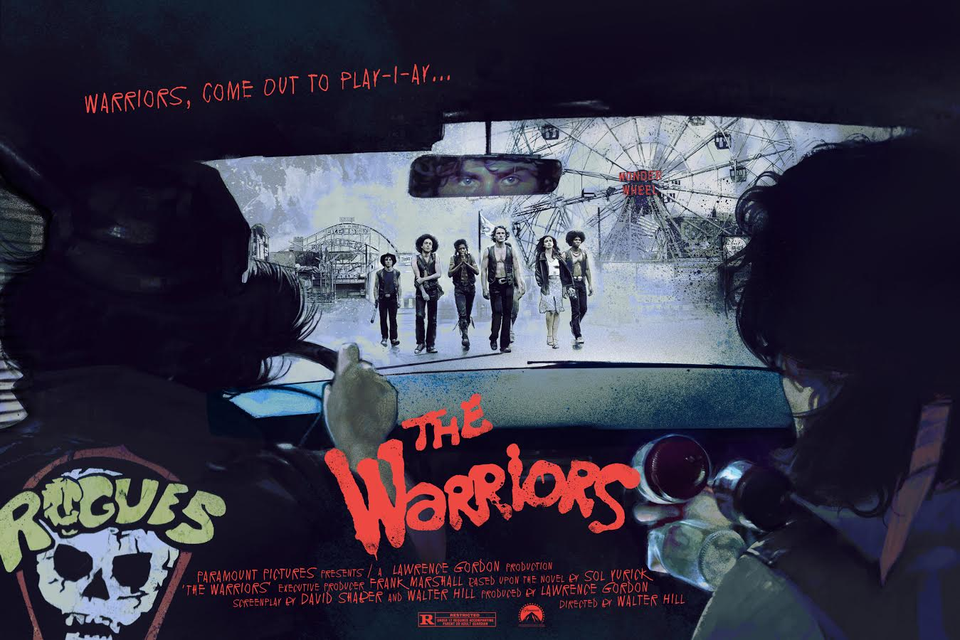 """The Warriors"" by Vlad Rodriguez.  24"" x 36"" 7-color Screenprint.  Timed max edition of 95.  £48 ($63)"