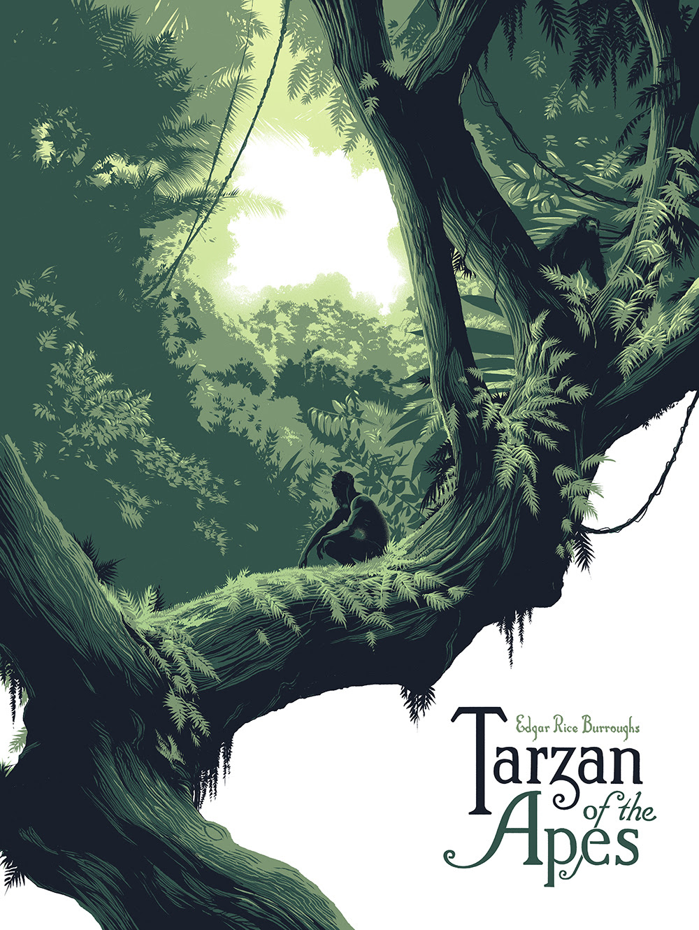 """Tarzan of the Apes"" by Matt Taylor.  18"" x 24"" 5-color Screenprint.  Ed of 45 N.  £40 ($53)"