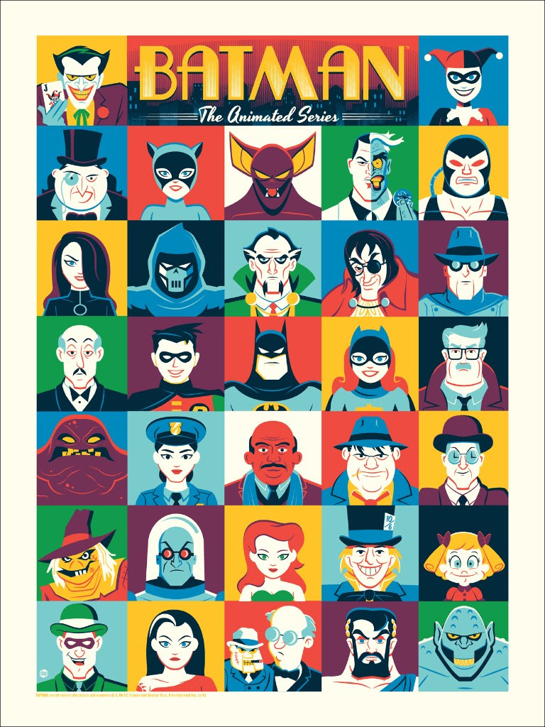 "Batman: The Animated Series by Dave Perillo. 18""x24"" screen print. Hand numbered. Edition of 225. Printed by D&L Screenprinting. $40"