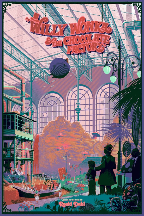 """Willy Wonka & The Chocolate Factory"" by Laurent Durieux.  24"" x 36"" 14-color Screenprint.  Variant (Ed of 145, $100) : Foil (Ed of 25, $150) : Canvas giclee (Ed of 15, $250)"