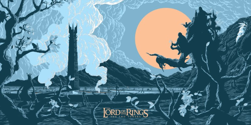 """The Two Towers (LOTR)"" by Florey.  18"" x 36"" 4-color Screenprint.  Ed of 150.  €45 ($51)"